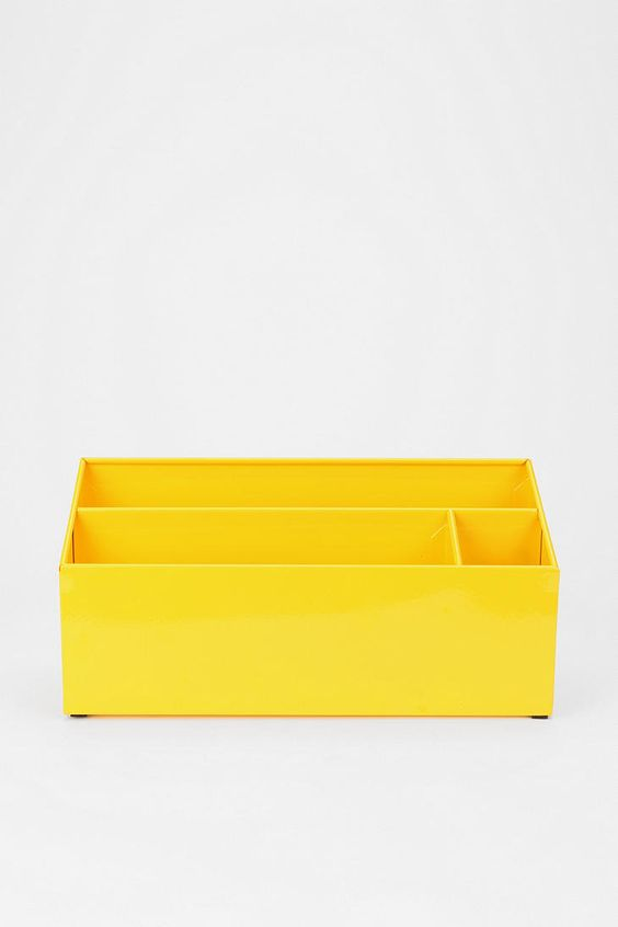 Sunfire Enameled Letter Storage Bin. How cute would this be on the desk?
