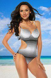 Monokini mit gepolsterten Schalen in schwarz-Weiß, Träger-Badeanzug in S, M, L, XL, Größe Atixo:L