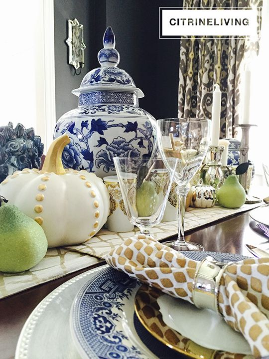 CitrineLiving - A Fall tablescape with rich layers of blue and gold create a chic chinoiserie setting