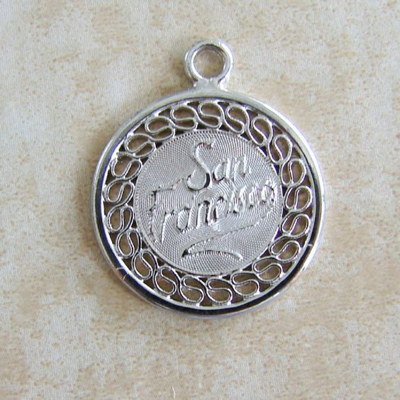 San Francisco California Crea Vintage Sterling Silver Bracelet Charm by Charmcrazey on Etsy https://www.etsy.com/listing/227468208/san-francisco-california-crea-vintage