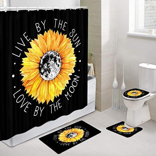 Sunflower Polyester Shower Curtain Bath Mat Anti-Slip Pedestal Rug Toilet Cover