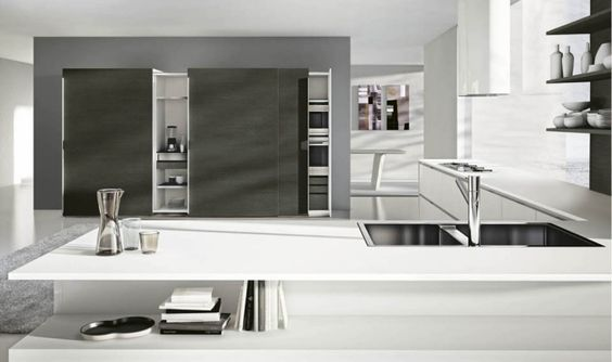 Schön Elegante Küche Serie Domus Val Design Weiß Grau Eckküche Regale |  Firmenküche | Pinterest | Kuchen And Design