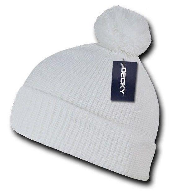 Solid White Pom Pom Ski Snowboard Winter Skull Warm Cuffed Long Knit Beanie Hat