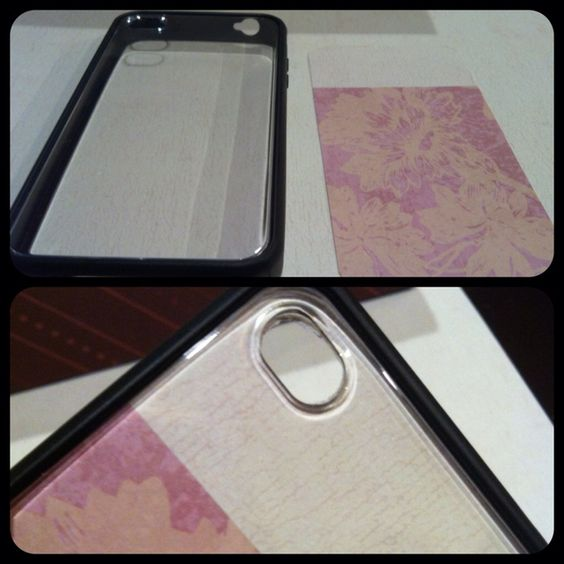 Thanks to Pinterest! DIY iPhone design cover. Get a clear back case, trace scrapbook paper or print something (even your own picture), cut out camera hole! Tada! If you have phone case addiction like me, this is perfect!