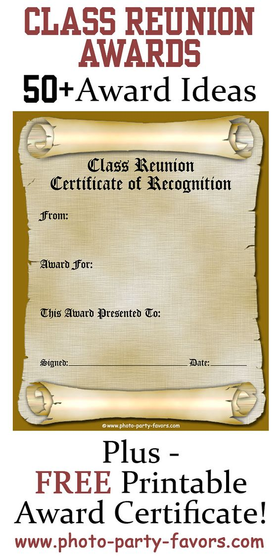 Free Printable Class Reunion Award Certificate with more ...