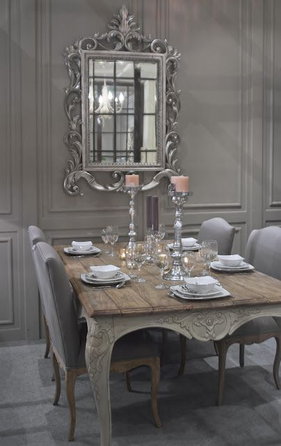 Charming shabby chic dining room in french grey with an for Shabby chic dining room wall art