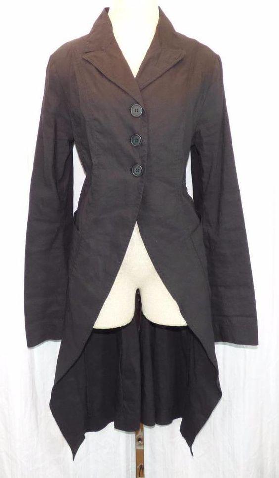 RUNDHOLZ Mainline Black Label Long Stretch LINEN Blend Jacket Coat Sz S Small #Rundholz #BasicJacket