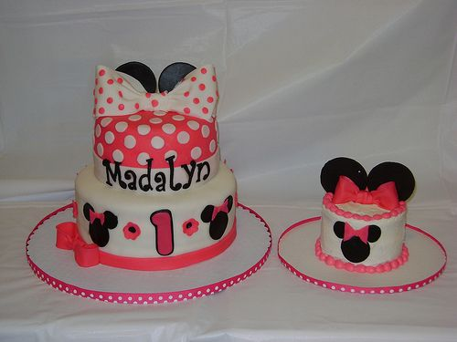 Minnie Mouse Birthday Cakes- something like this would be cute so she could have a smash cake