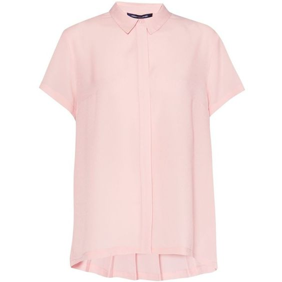 French Connection Classic Crepe Short Sleeve Shirt ($55) ❤ liked on Polyvore featuring tops, blouses, pink, women, crepe blouse, crepe top, short-sleeve blouse, shirt top and short sleeve tops