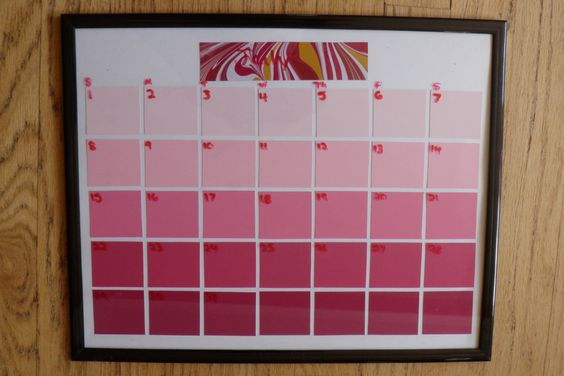 Paint Chip Calendar under glass... write in Month and days with dry erase pen