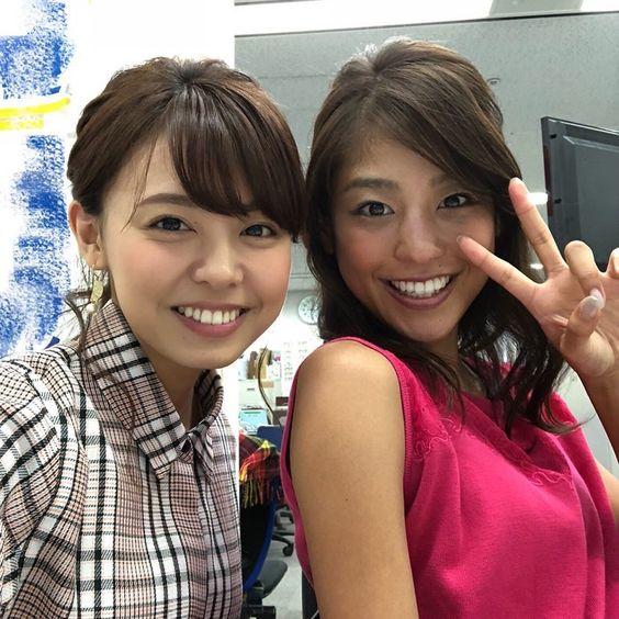 職場でのツーショットの岡副麻希の美人でかわいい画像