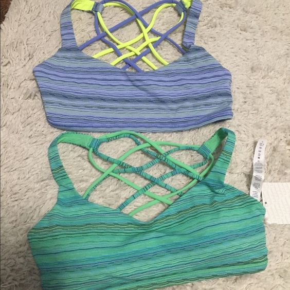 Lululemon Free To Be Wild Bras Sz 6 Top one has been worn once for an hour and the bottom one is new with tags-from Australia so I don't plan on accepting lower than what I paid. I can include cups of you'd like. Both are size 6. Would prefer to bundle. lululemon athletica Tops Crop Tops