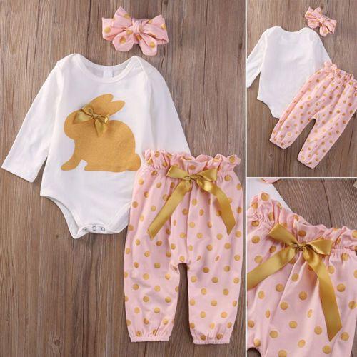 3 Stück Neugeborene Baby Mädchen Overall Spielanzug Kids Romper Outfit Hosen Set