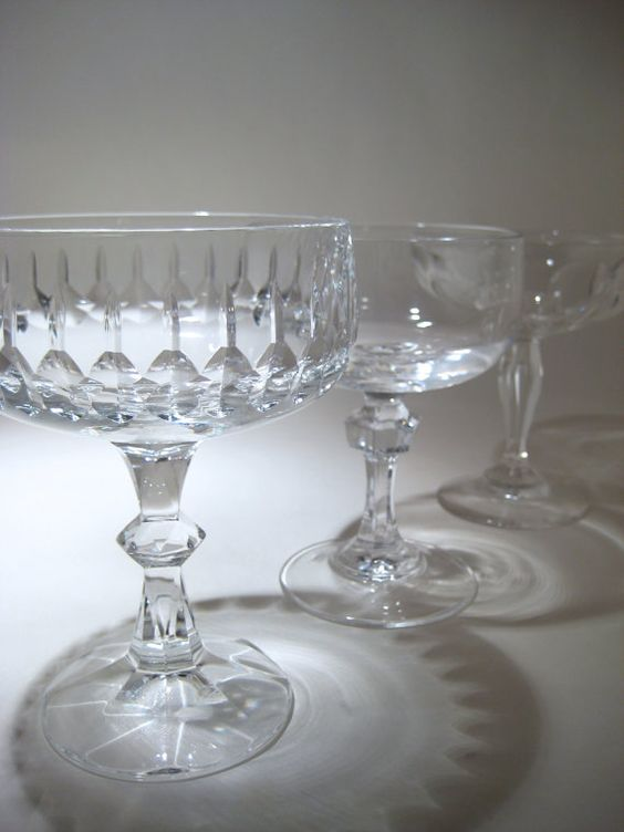 Vintage Crystal Champagne or Cocktail Coupes
