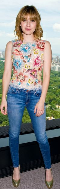 Who made  Emma Roberts' skinny blue jeans, floral sequin tank top, and gold platform pumps that she wore in New York on June 18, 2012?