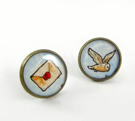 Owl Post -- Teeny Original Illustration Post Earrings inspired by Harry Potter. $34.00