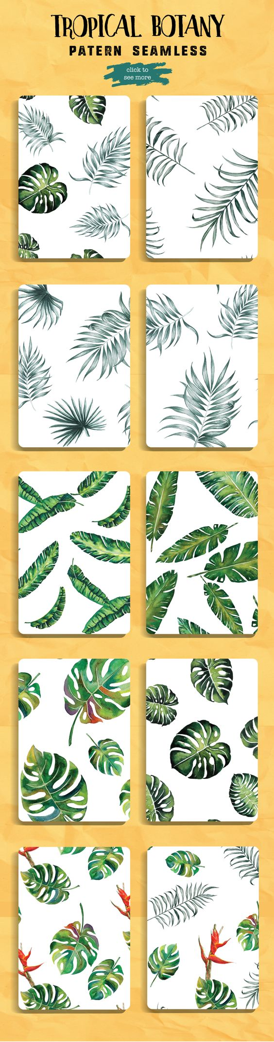 Tropical Leaves pattern watercolor by Planolla on @creativemarket