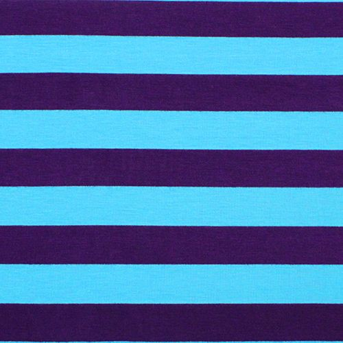 Purple and turquoise stripe cotton spandex knit fabric - Purple and blue combination ...