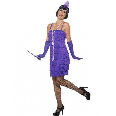 #Costume #Disfraz de #Charleston Corto en Morado en todas las Tallas
