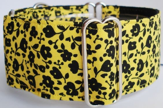 2 Martingale Dog Collar Black Flower on Yellow by thedogtailor, $12.00