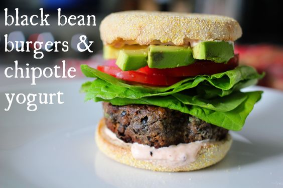 black bean burgers with chipotle yogurt.