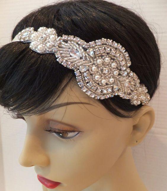 Rhinestone Pearl Bridal Headband EDEN Bridal by BellaCescaBoutique, $29.00