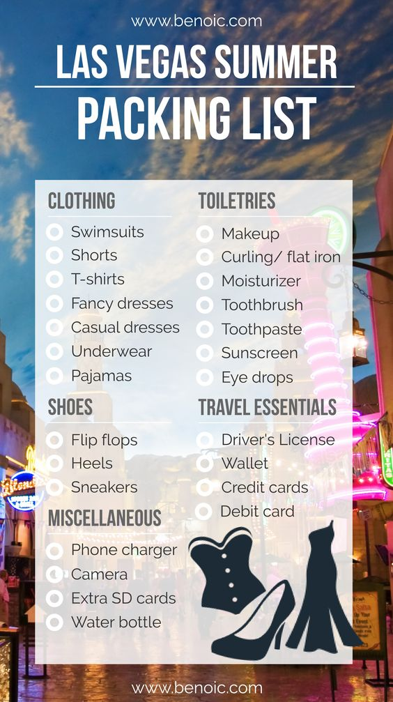 What to Pack for Vegas (Printable Packing List Included) Vegas - packing lists