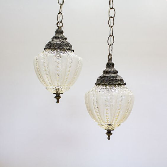vintage pendant lights hanging swag lamps set of 2 plug in lighting vintage pendants and lamps. Black Bedroom Furniture Sets. Home Design Ideas