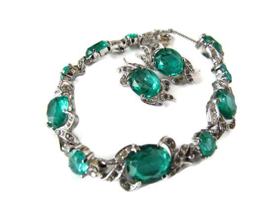 Panetta Jewelry Estate Jewelry Set Rare Green by WhyWeLoveThePast