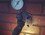 Steampunk Industrial Single Wall Scone Vanity Pipe Light with  pressure gauge