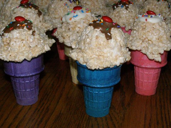 Rice Krispie Treat Ice Cream Cones Filled with M&Ms. The ...