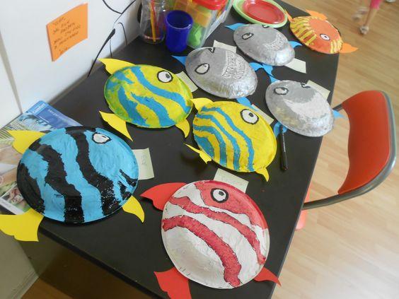 LABORATORIO CREATIVO pesci realizzati dai bambini con piatto di plastica, carta, acqua, colla vinilica, tempere, cartoncino e graffette
