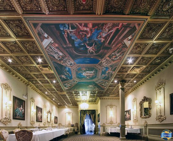 Digitally printed stretch ceiling mural at Elite banquet hall ...
