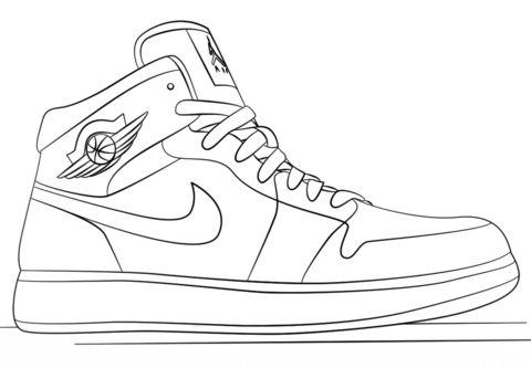 Nike Jordan Sneakers Coloring Page Free Printable Coloring Di 2020 Sepatu Air Jordan Sketsa Jordan