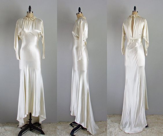 1930s hollywood glamour stunning ivory satin vintage wedding dress gown small by thefrippery on Etsy