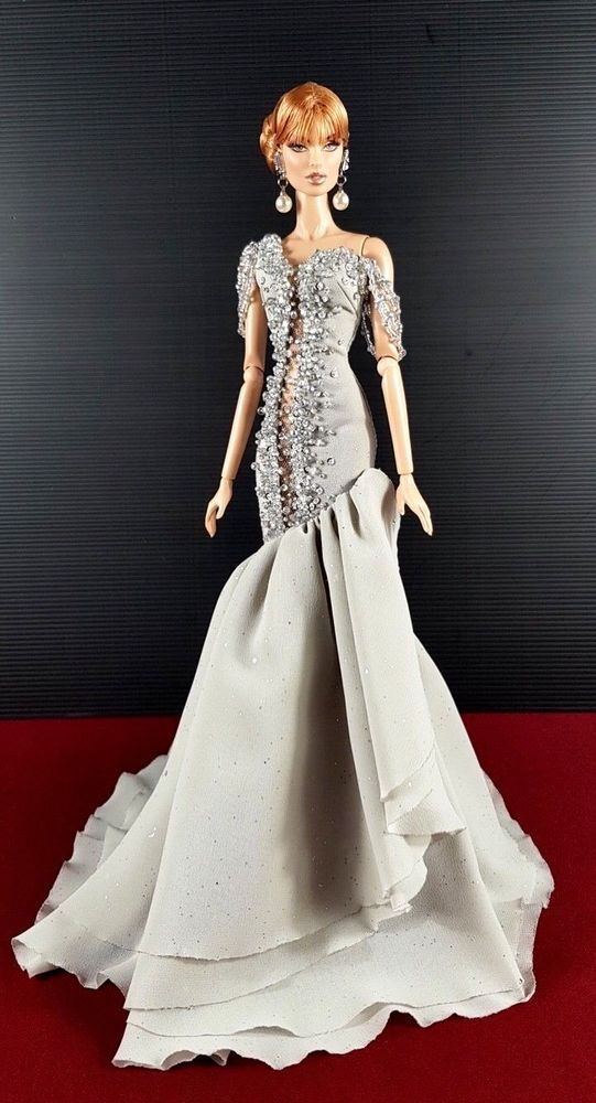Platinum Silver Sequin Evening Dress Outfit For Silkstone Barbie Fashion Royalty