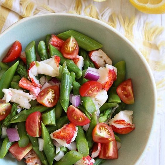 Lobster and Asparagus Chopped Salad with Lemon Dressing. Fancy and Yummy