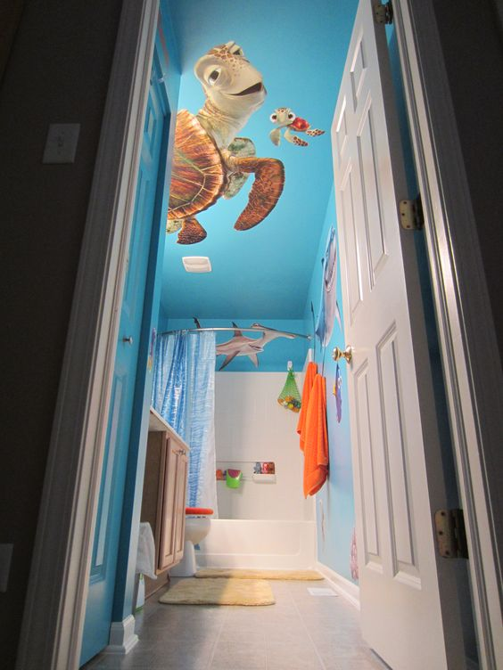 Bathrooms decor future children and ceiling color on for Finding nemo bathroom ideas