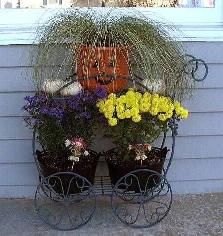 This display is ready for fall! By BlueBelle on Garden Guides: Box Gardens, Artistic Gardening, Container Window, Ajax Garden, Container Planting, Container Gardens Think, Garden Accents, Container Gardening, Creative Containers