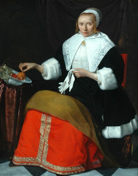 Jan Albertsz. Rotius, Portrait of a Lady in a fur trimmed dress, holding a pair of white gloves, ca. 16660, The Bowes Museum