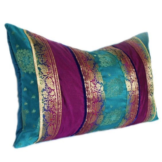 Turquoise Purple and Gold Indian Sari Stripe Oblong by Behirah