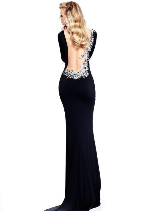 black long sleeve backless formal dress | Prom | Pinterest | Prom ...