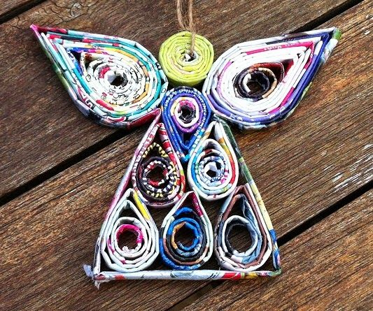 Recycled Magazines, Recycled Art And Angel Ornaments On