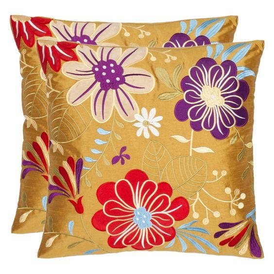 Have to have it. Safavieh Sakura Garden 18 In. Gold Decorative Pillows - Set of 2 $99.99