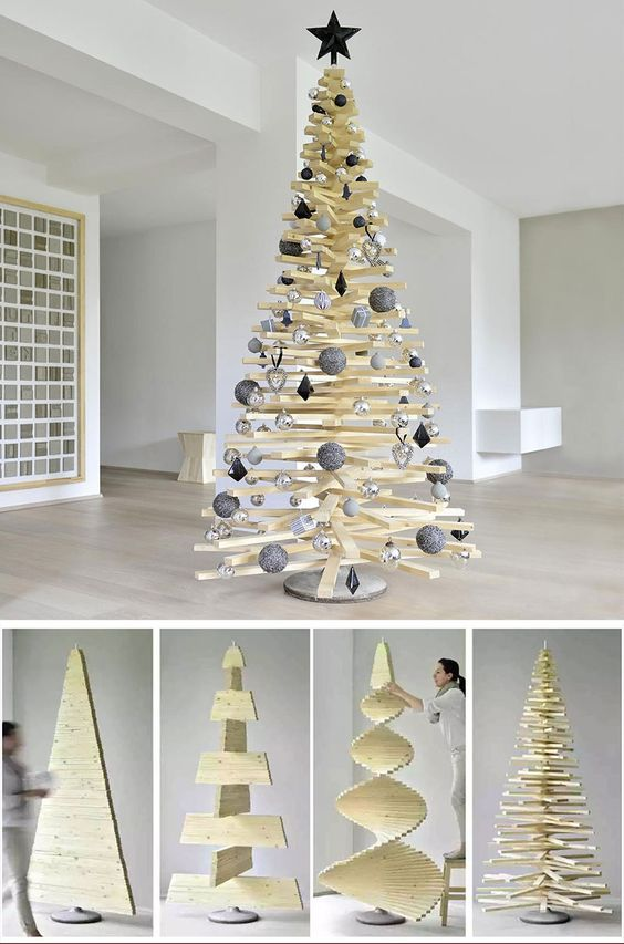 40 Unique Christmas Tree Alternatives Art Home Cool Christmas Trees Wooden Christmas Trees Wood Christmas Tree