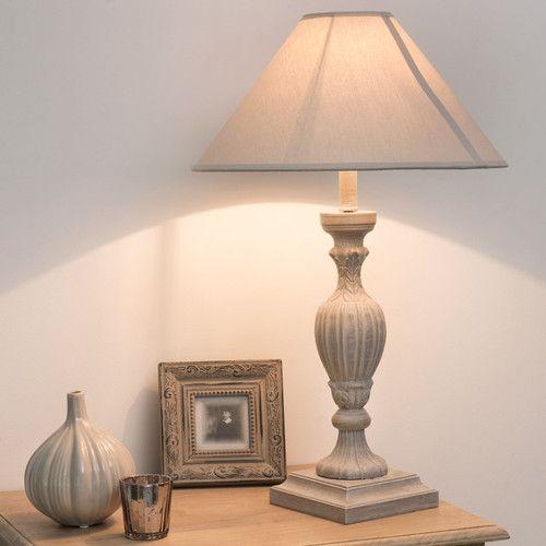 Lampe de chevet bois et abat jour en tissu grise h 44 cm amorine mdm lumi - Lampe de chevet grise ...