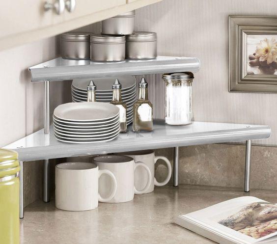 Marimac 2-Tier Kitchen Counter Corner Shelf in Satin Silver ...