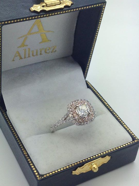 Square Double Halo Diamond Engagement Ring 14k Two-tone Gold (0.62ct) - Allurez.com