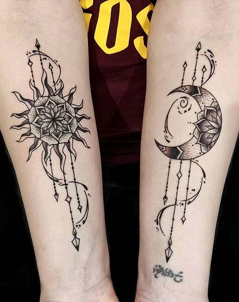 63 Most Beautiful Sun And Moon Tattoo Ideas Page 6 Of 6 Stayglam In 2020 Moon Tattoo Small Inspirational Tattoos Small Colorful Tattoos