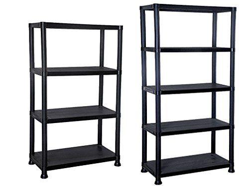4 5 Tier Black Plastic Shelving Unit Storage Organised Garage Home